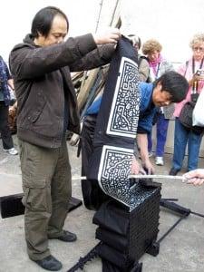 Herr Wu viser blokktrykk